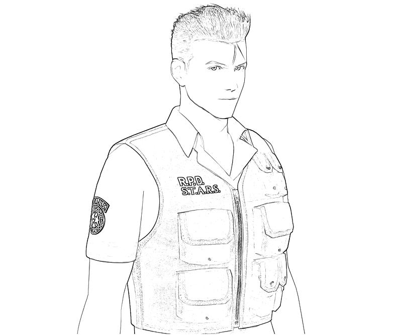printable-resident-evil-chris-redfield-Portrait-coloring-pages