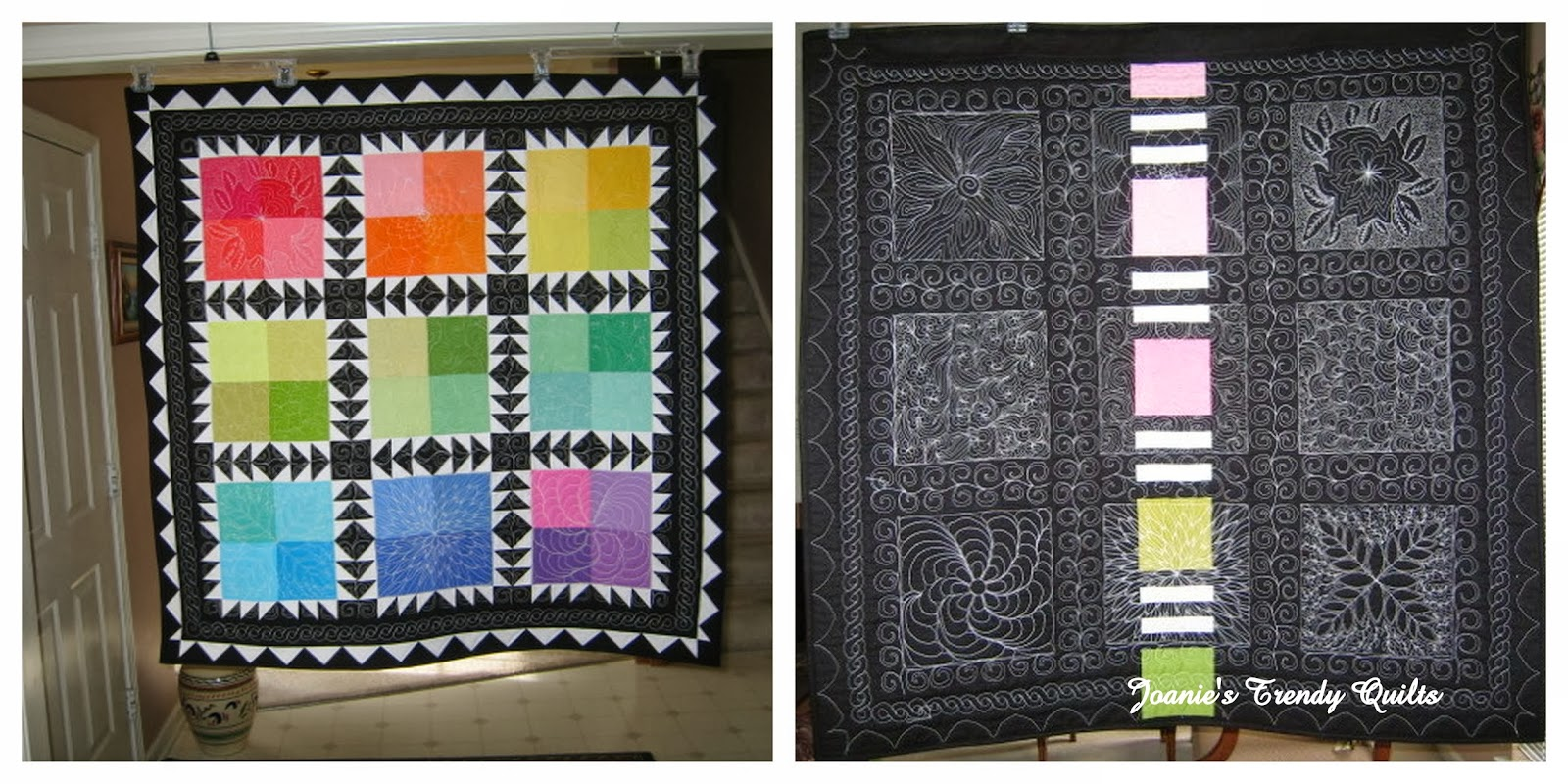 Joanie S Trendy Quilts Showcasing The Backs Of Quilt