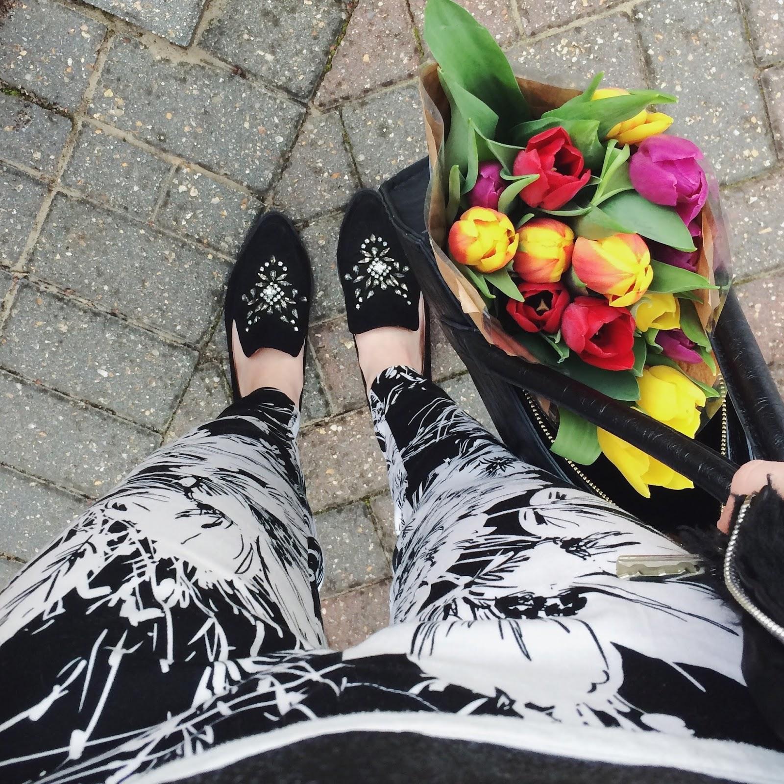 Primark Floral Print Cigarette Trousers, Next Embellished Loafers