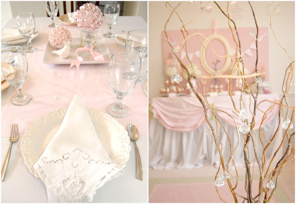 Pink birdie baby shower guest feature celebrations at home - Pink baby shower table decorations ...