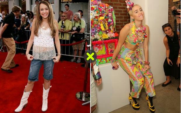 Veja como Miley Cyrus era ontem e como estão hoje
