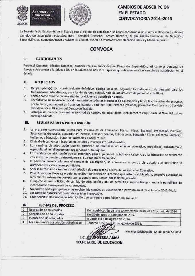 Convocatoria cambios de adscripci n docente michoac n 2014 for Convocatoria para plazas docentes