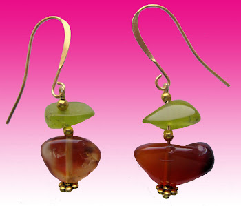 Sweet Orange Red Natural Gemstone Carnelian and Jade Stone Classy, Elegant Earrings Small