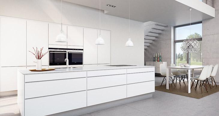 island of white on allume la lumi re dans la cuisine. Black Bedroom Furniture Sets. Home Design Ideas