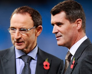 Martin O'Neill and Roy Keane at the Aviva Satadium in Dublin on Monday.