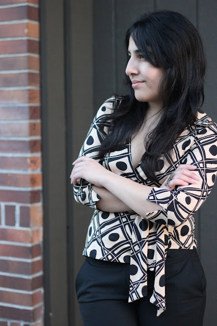 Patterned DVF Wrap Top