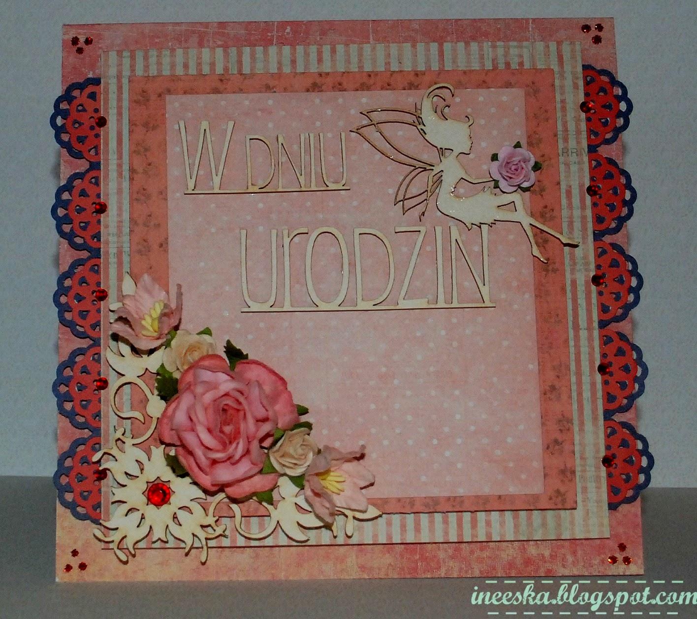 Kartka urodziny, pastele, róż, różowa wróżka