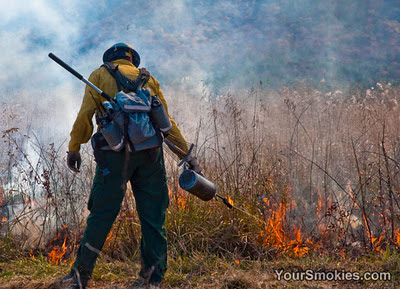 Cades Cove Prescribed Burn in the Great Smoky Mountains National Park Final Day for 2011