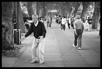 the elderly doing exercise
