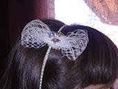 Diadema de perlitas y mariposas de Swarovski