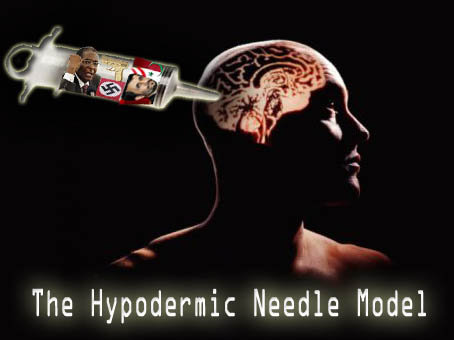 hypodermic needle theory History : in mid 1930's media scholars found the first theory on media effects and the media behaviors during second world wars media plays a vital role in both united states and germany to made influence in the people's mind the germany hitler's nazi used film industry for propaganda and they.