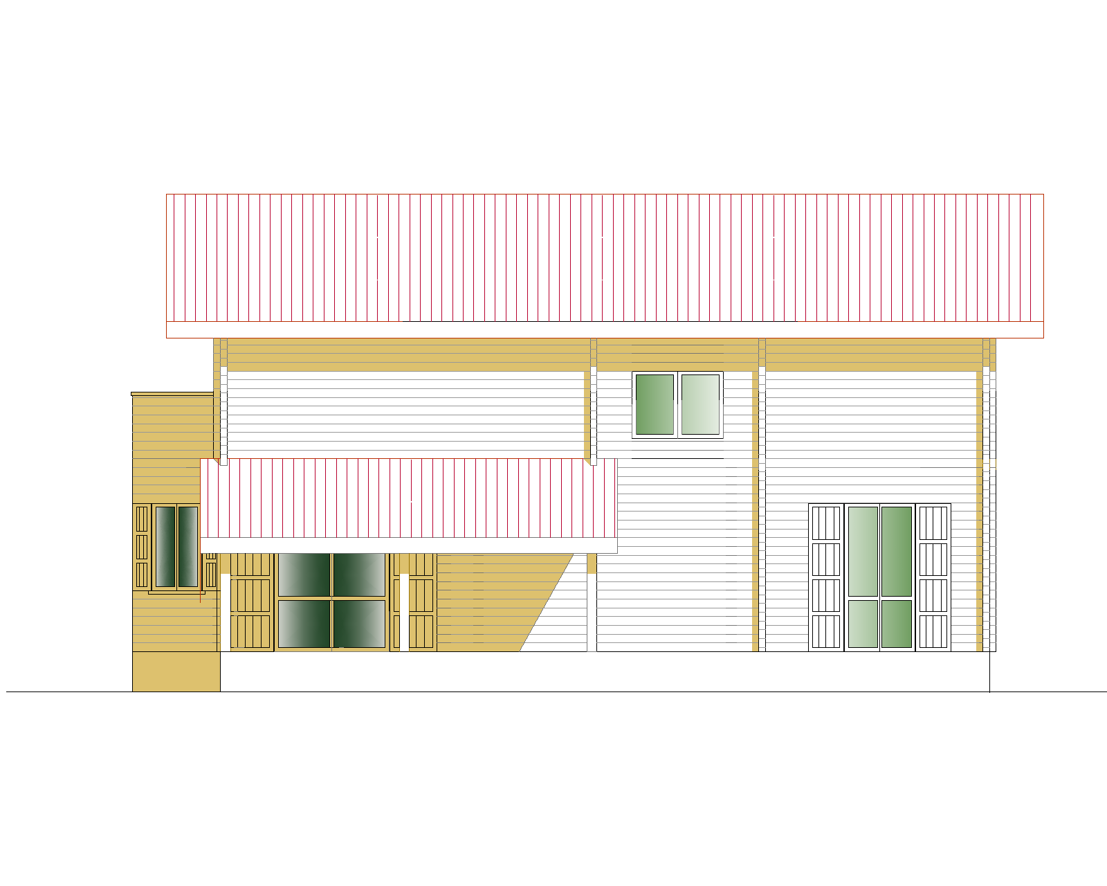 Progetti di case in legno casa 214 mq terrazza coperta for Progetti di portico anteriore