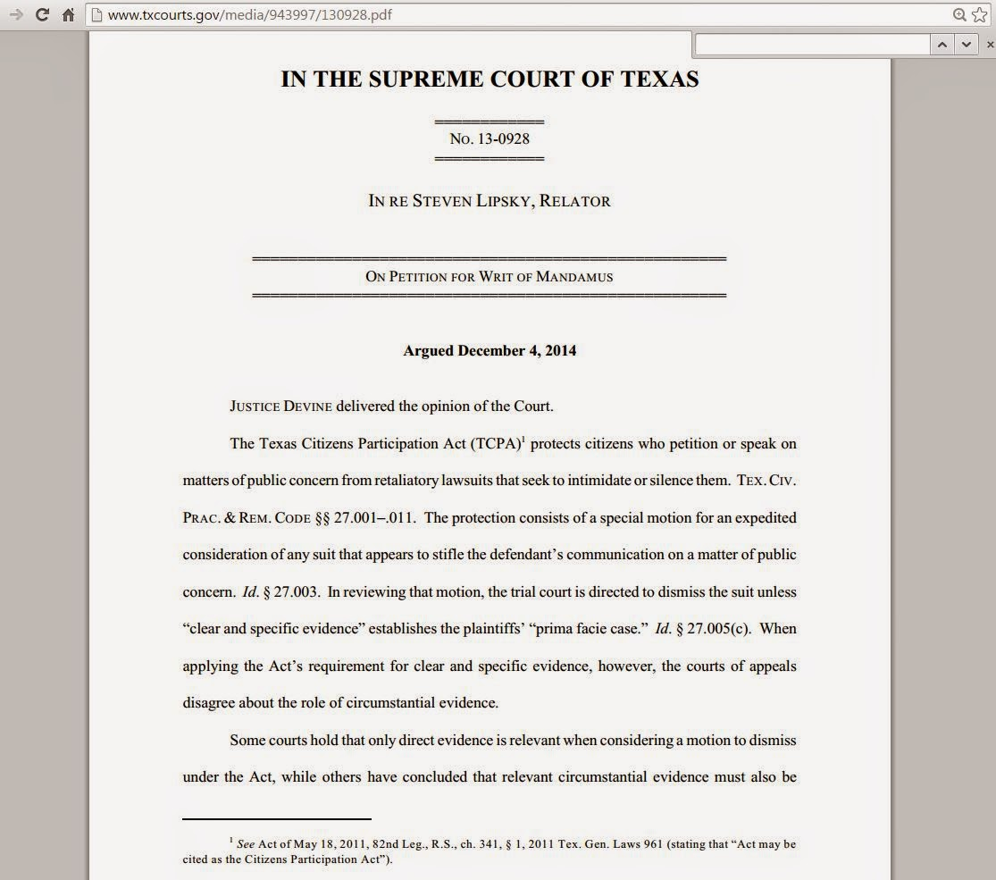 TX: Business Disparagement And Defamation Of An Individual Distinguished  (In Re Lipsky Tex 2015)