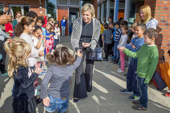 Princess Laurentien of The Netherlands reads at the Day of Sustainability at De Pantarijn School