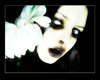 Gothic Girl With Flower Dark Wallpaper