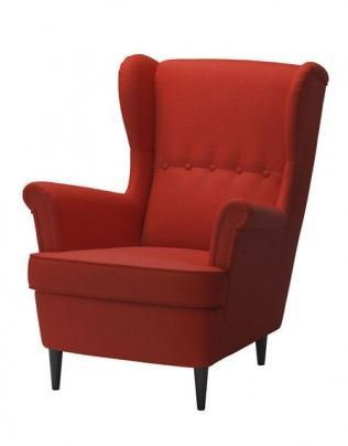 red Ikea Strandmon chair