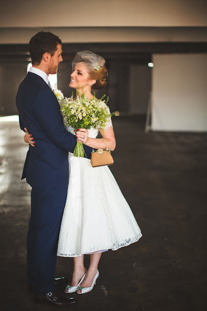 HVB vintage wedding blog, Real Vintage Brides feature - Kathryn in 1950s lace wedding dress