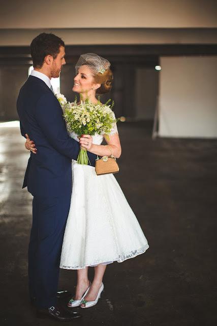 HVB vintage wedding blog, Real Vintage Brides feature - Kathryn in 1950s lace wedding dress