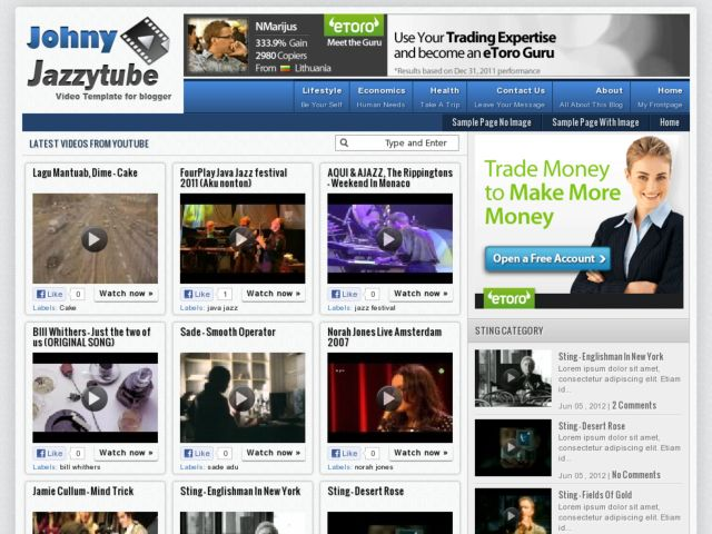 Demo Johny Jazzytube Blogger Template