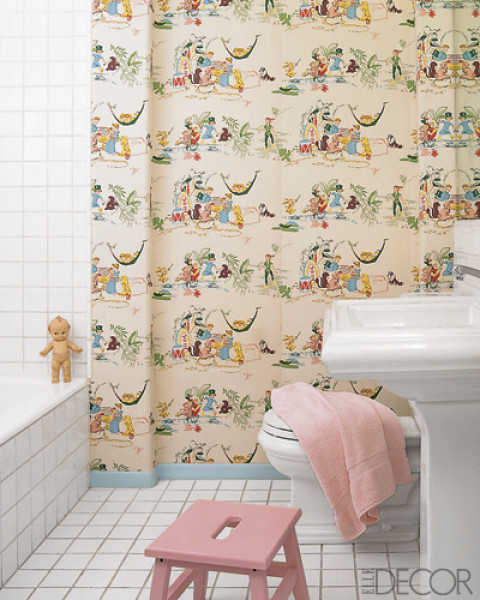 A place to read belclaire house for Vintage bathroom wallpaper designs