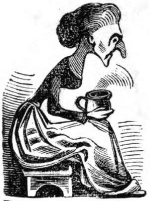 A middle-aged lady with a cup of tea