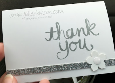 DIY Wedding Thank You Cards with Stampin' Up! Watercolor Thank You stamp #stampinup #wedding www.juliedavison.com