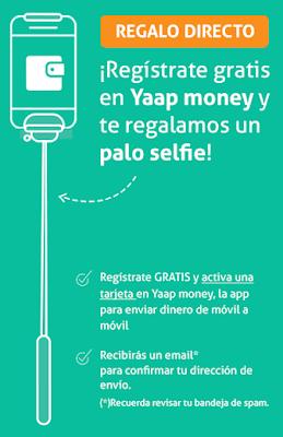 Consigue un palo Selfie Gratis, solo por registrarte en Yaap Money.
