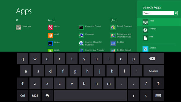 On screen keyboard on Windows 8: Intelligent computing