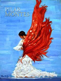 """Cuadro """"Bailaora con mantón rojo"""" de Pilar Montes"""