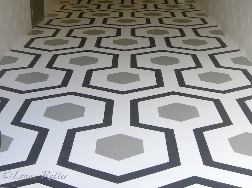 Geometric Black and white floor pattern