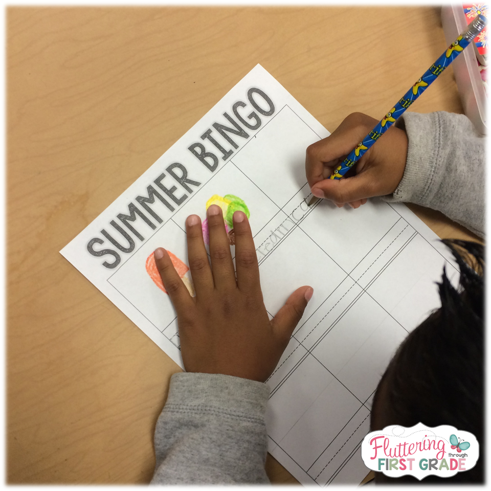 We use summer vocabulary words to have them create their own summer
