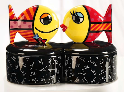 trinket box topped with two kissing fish