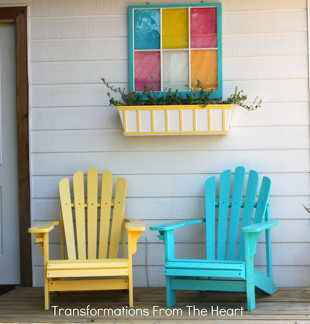 adirondack chairs, old window painted