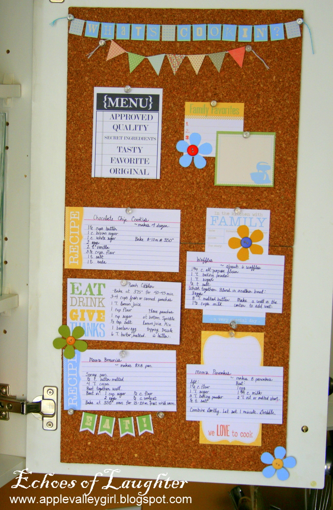 How to make a kitchen recipe board echoes of laughter for Kitchen cork board ideas