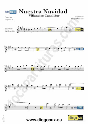 Tubescore Nuestra Navidad sheet music for Alto and Baritone Saxophone Our Christmas a Christmas Carol from Andalusia