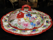 1950s Vintage Made In Japan Hand Painted /Transfer Rice Bowl w/Lid