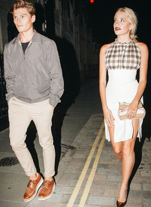 PIXIE LOTT Christopher Kane check dress and OLIVER CHESHIRE Dolce Gabbana reversible car print jacket and GRENSON Archie brown brogue leather shoes - Chiltern Firehouse 29th July 2014