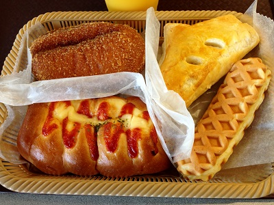Beef Curry Doughnut,Apple Pie, Vienna Sausage Roll, Cheese Waffle