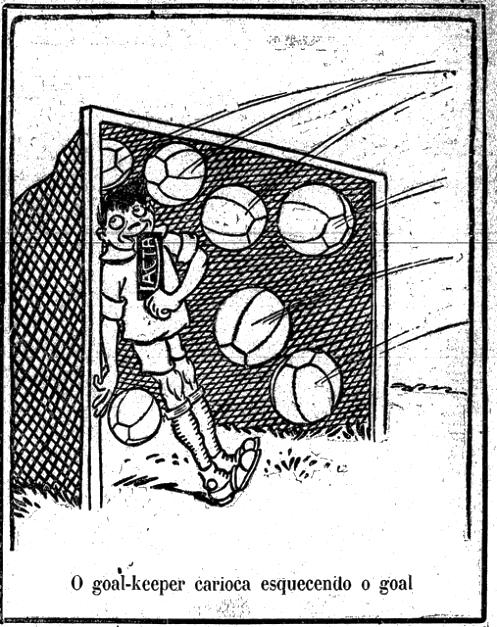 Propaganda do Chocolate Lacta nos anos 20, onde mostra um goleiro em delírio por saborear o chocolate Lacta.