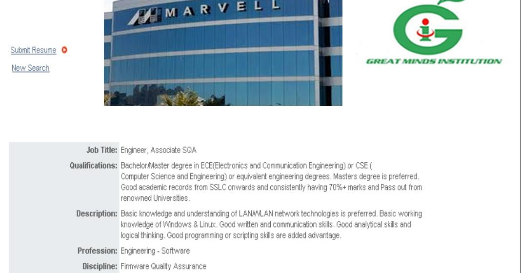 Marvell Technology Hiring Associate Engineer ~ GREAT MINDS INSTITUTION