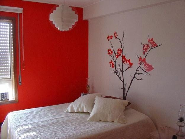 Pared roja y blanca decoraci n de paredes en fotos - Pared fotos decoracion ...