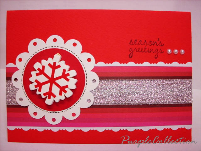Happy Anniversary Card, red, silver ribbon, snowflakes