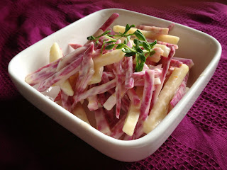 Recipe: Crisp Chioggia beet and Fuji apple salad
