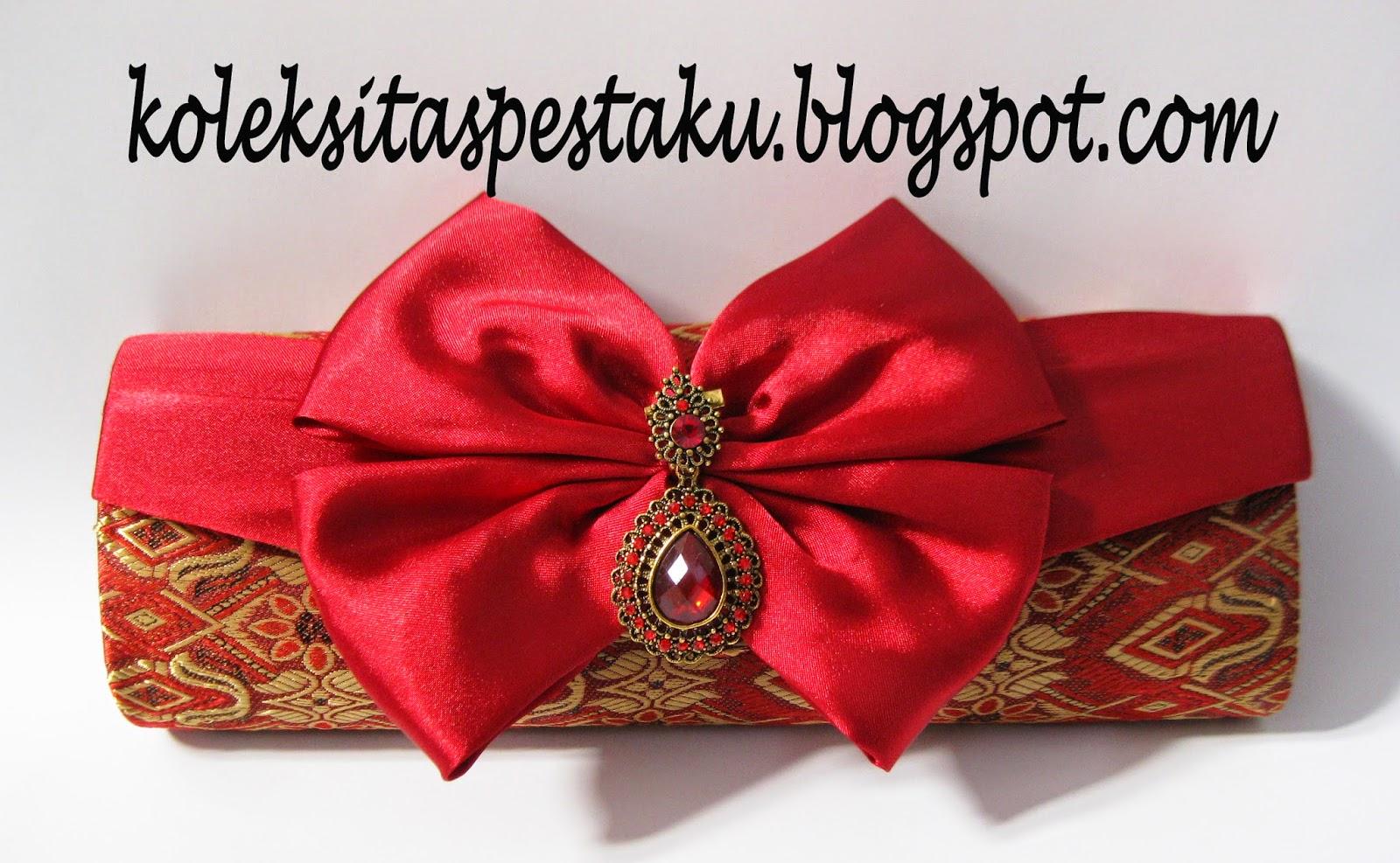 Tas Pesta Maroon Cantik dan Elegant Sari India