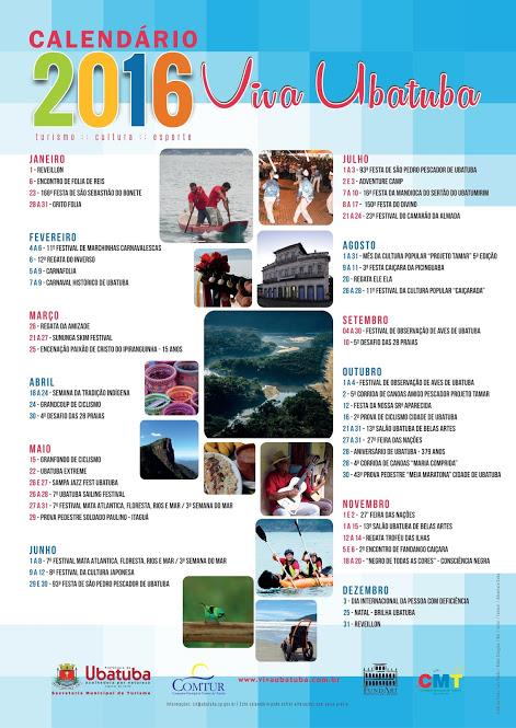 CALENDÁRIO 2016  - VIVA UBATUBA