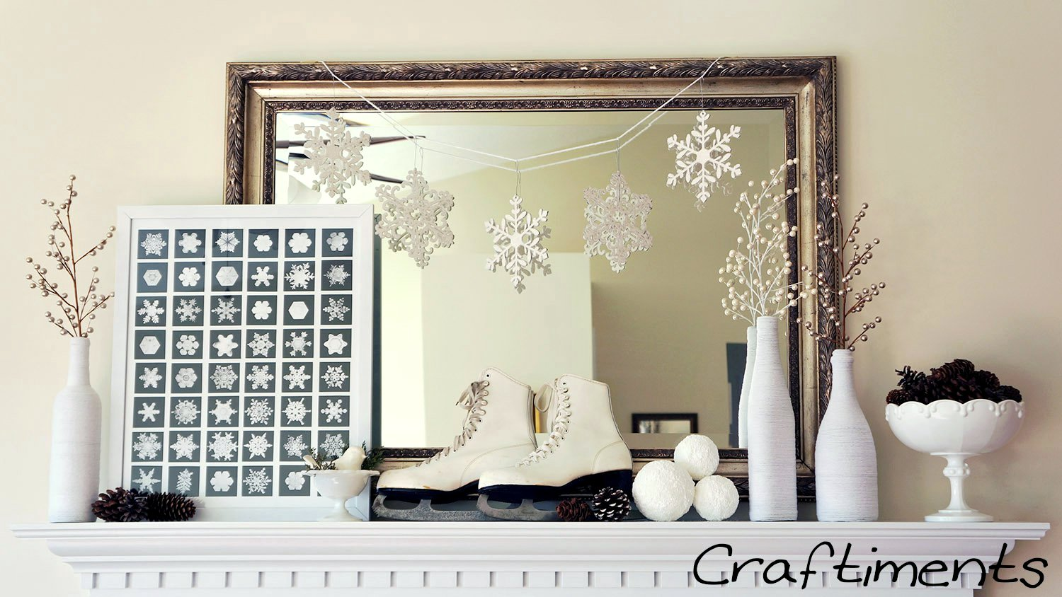 Craftiments:  Snowy White Winter Mantel