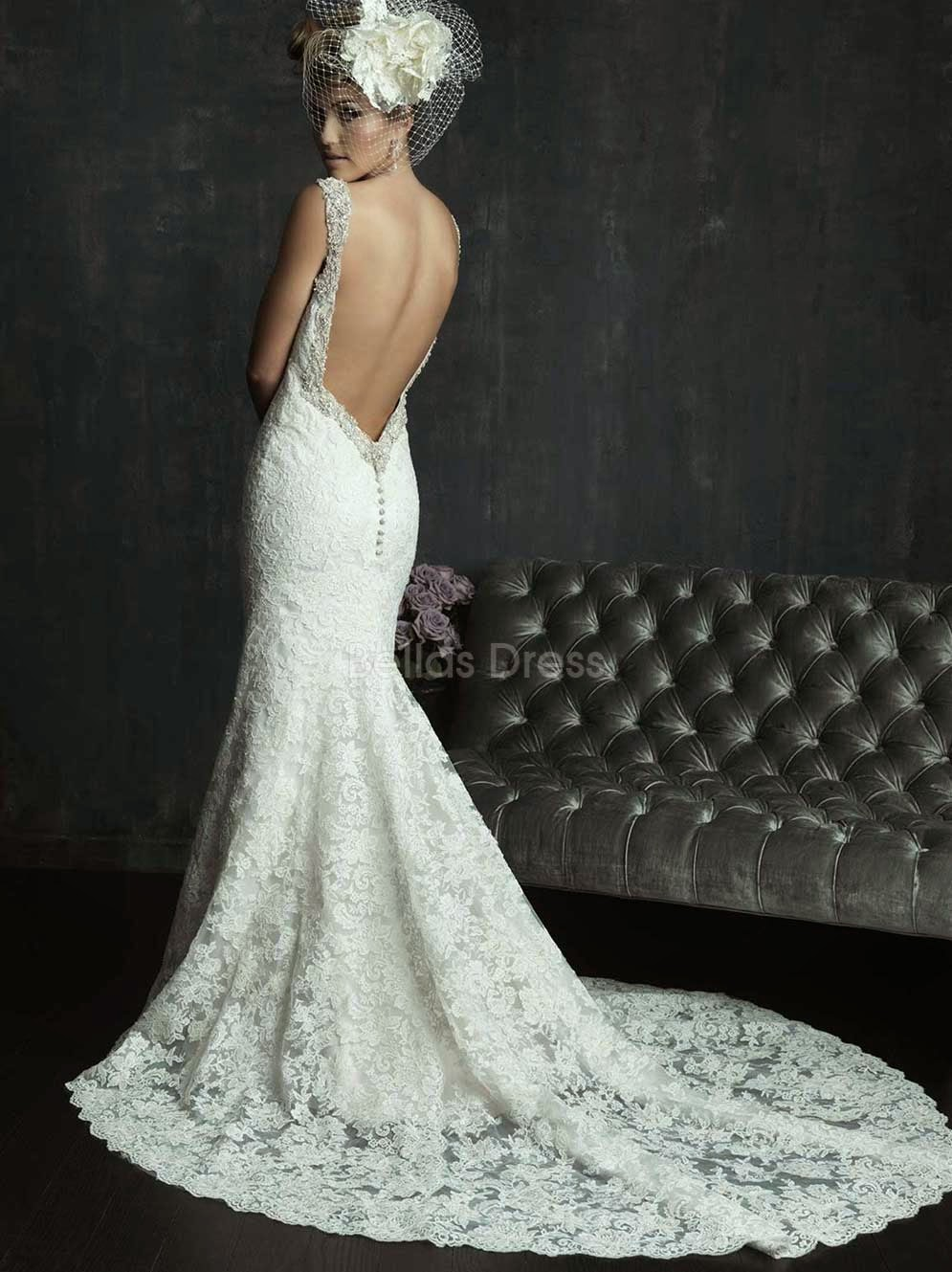 Backless Long Train White Wedding Dresses Photos HD Ideas