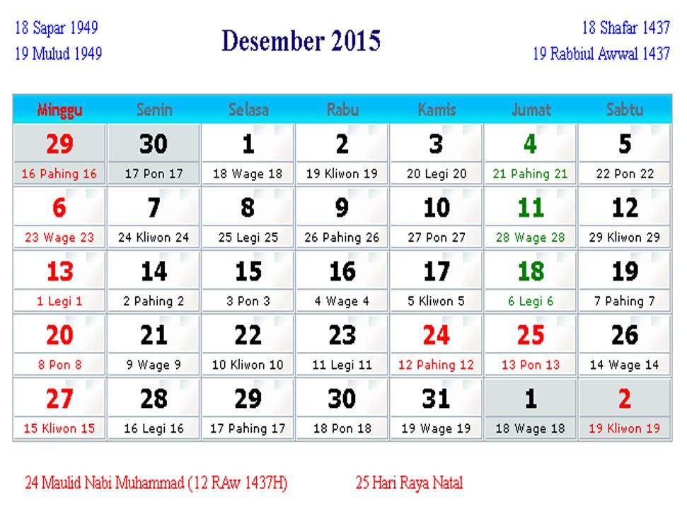 Jika ingin Download Gratis Kalender Indonesia Desember 2015 tersebut ...