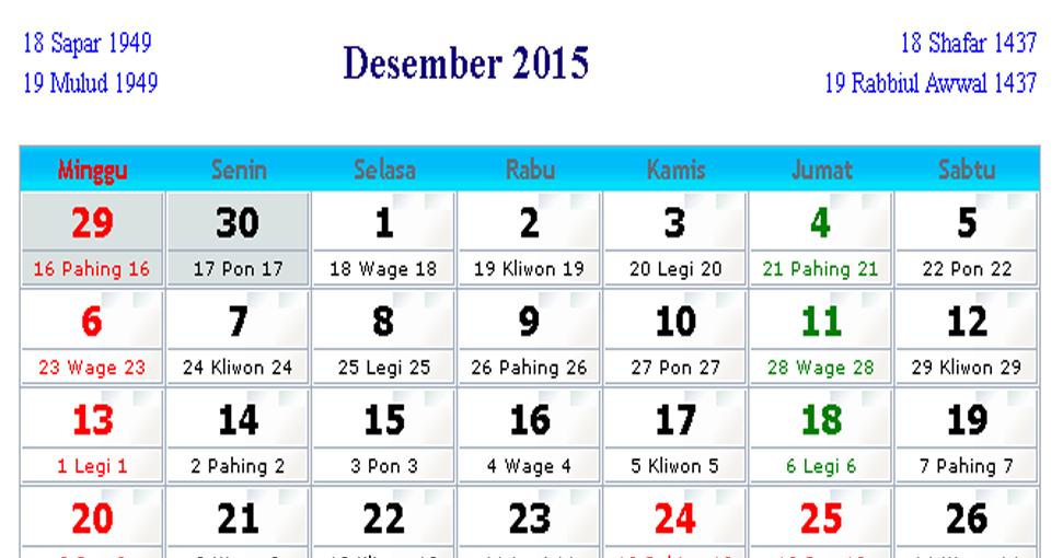 Kalender Desember 2015 Masehi Arab Jawa Komplit Gratis | Bacaan Islami
