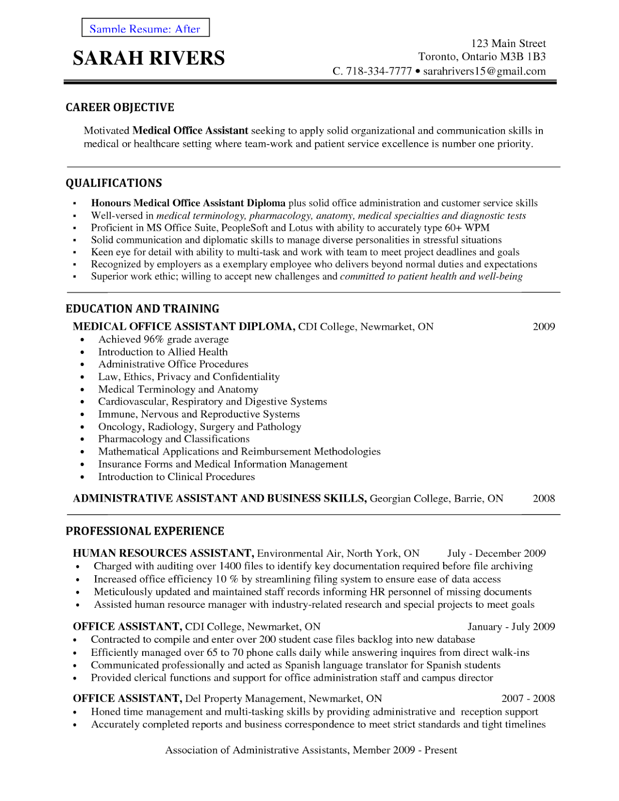 Objective Resume Examples Medical Assistant